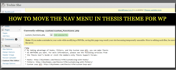 How To Move the Nav Menu in Thesis Theme For WordPress