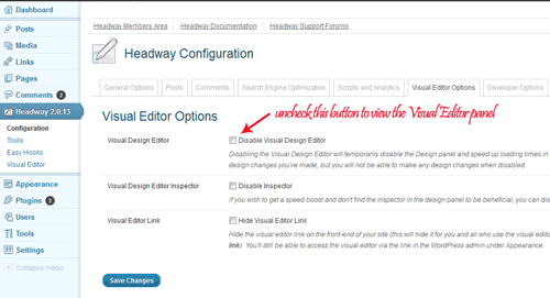 headway theme visual editor enabling button