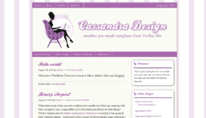 cassandra purple pre-made wordpress theme