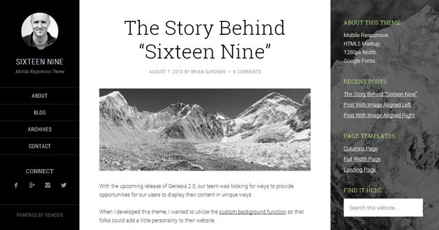 Sixteen Nine WordPress Theme from StudioPress